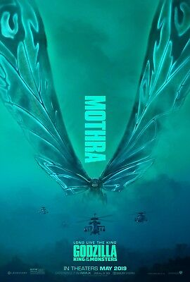 "Godzilla King of the Monsters Poster 48x32"" 36x24"" Mothra Movie 2019 Print Silk"