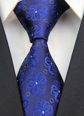 Wedding Blue Navy Floral Mens Classic JACQUARD Woven Necktie Tie Formal Ties UK
