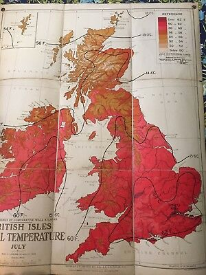 Old School Wall Map British Isles Actual Temperature July 1940
