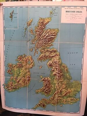 Old School Wall Map British Isles Graphic Relief dated 1959