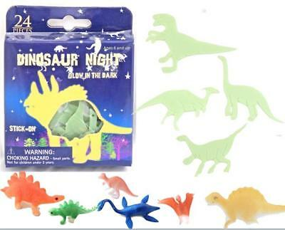 Dinosaur Night 24 Stick on Glow in the Dark Dinosaurs plus 6 dinosaur toys