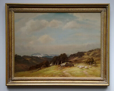 WALTER J. WATSON (b.1879) SIGNED OIL PAINTING SHEEP IN WELSH LANDSCAPE