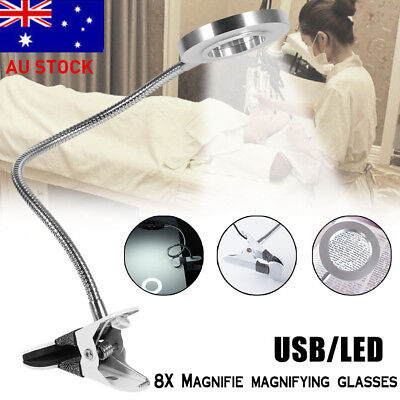 8x Magnifying Magnifier Lamp Light 360° Rotatable Skincare Beauty Nail Manicure