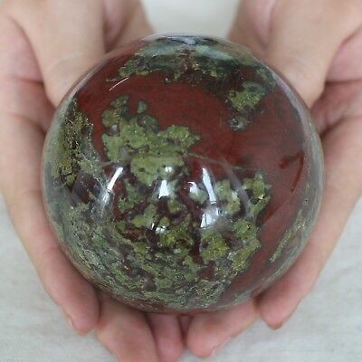 "2.05LB 3.3"" Natural Dragon Blood Stone Jasper Crystal Sphere Ball Polished Heali"