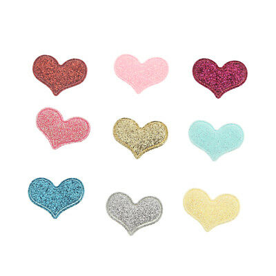 20pcs Glitter Loving Heart Shape Patches Applique Iron on Bags Clothes Badge DIY
