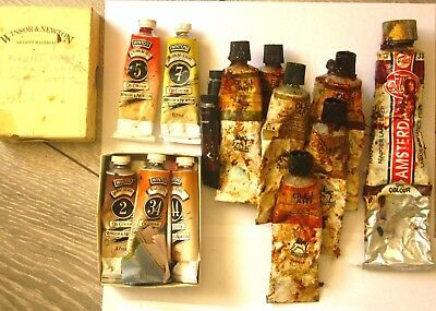 old 12 oil paint bundle cadmium red and brown Winsor and Newton Renesans art