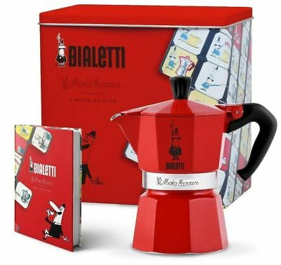 "Bialetti Caffettiera 3 tz ""Moka Express Carosello""+ taccuino,limited edition,red"