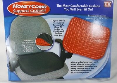 "Black Honeycomb Red Gel Seat Cushion with Black Non-Slip Cover 16"" x 13"""