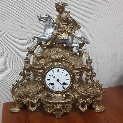 Antique Vintage Beautiful French Guilded Mantle Clock