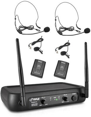 Dual Channel VHF Wireless Microphone System Lavalier Headset Mics Transmitters