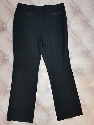 Ex M&S Black Trousers With Front Decorative Pockets And Zip (267)