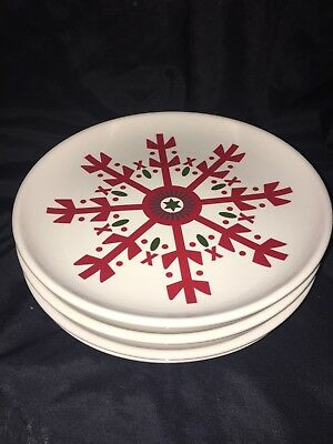 4 Snowflake Plates Longaberger Christmas Red & White Excellent