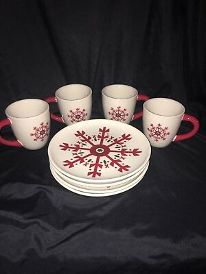 4 Snowflake Plates 4 Mugs Longaberger Christmas Red & White Excellent