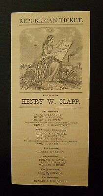 1890's REPUBLICAN Election Ticket ~ Mayor-Henry W. Clapp~Concord, New Hampshire