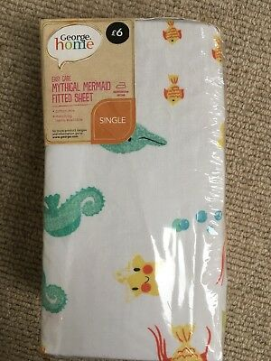 BNIB Toddler Bed Fitted Sheet Mermaid Sea Feature By George