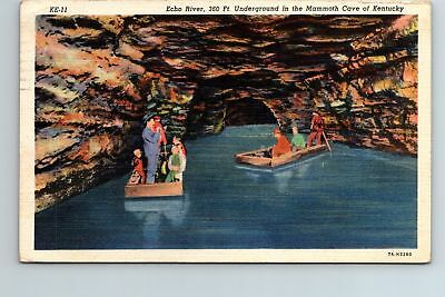 Pole Boating Echo River Mammoth Cave Kentucky 1941 Linen Postcard