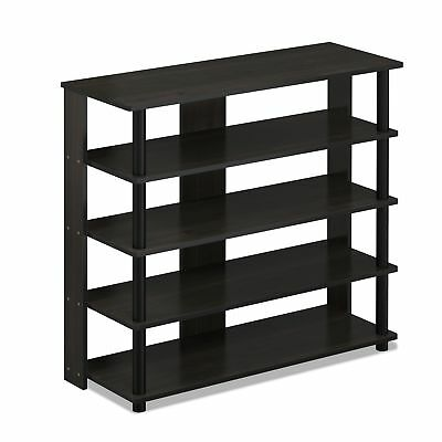 Turn-N-Tube Easy Assembly 4-Tier Petite TV Stand Black-wood