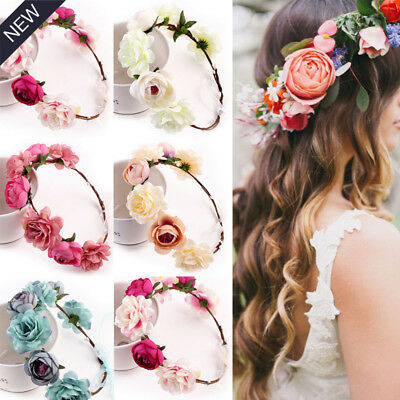 Crown Floral Rose Flower Headband Hairband Wedding Hair Garland Headpiece GG