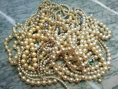 Job Lot Of Faux Pearl Jewellery For Spare Repair