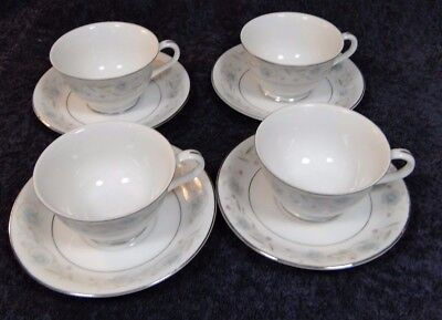 Fine China of Japan English Garden Footed Tea Cup Saucer Sets 1221 4 MINT
