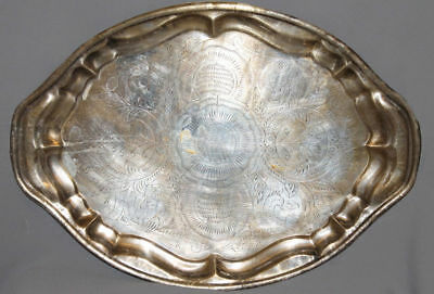 Vintage European Silverplated Floral Engraved Tin Serving Tray