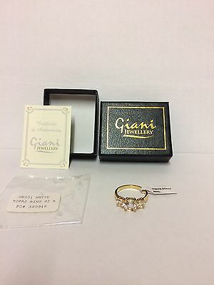 Job Lot Wholesale Giani Jewellery White Topaz Gold Plated  Rings / Size R / X 10