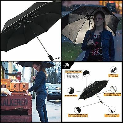 Men and Womens Windproof Auto Open and Close Unbreakable Compact Travel Umbrella