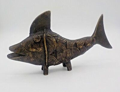 Vtg Mid Century Modern Cast Bronze Fish Sculpture Bosse Era