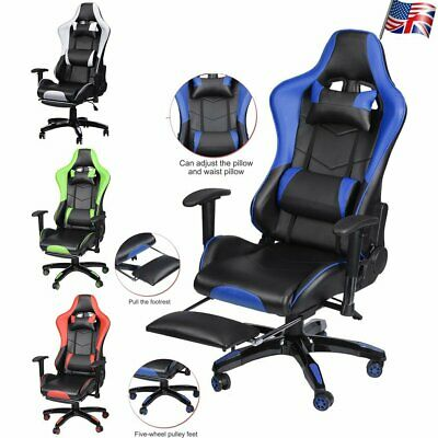 Adjustable Recliner Executive Office Chair Racing Computer Gaming Backrest 360