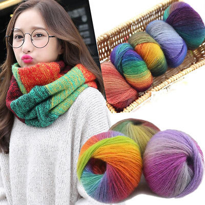 Scarve Rainbow Colorful Hand-woven Crochet Cashmere Wool Blend Yarn Knitting DIY