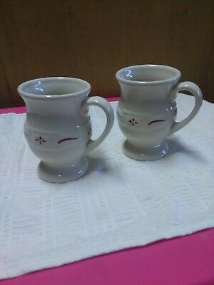 (2) Longaberger Pottery  Woven Traditions Red Latte Pedestal Coffee Mugs