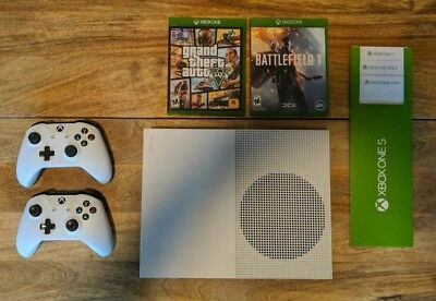 Microsoft Xbox One S 500GB Console w/ 2 Controllers and GTA V and Battlefield 1!