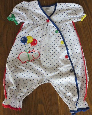 Vintage Baby Girl Clothes Primary Polka Dots Romper 6-9 mos.