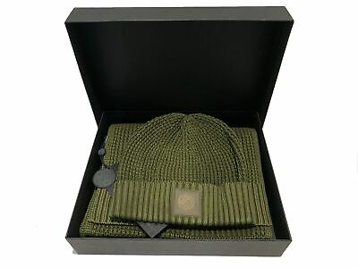Pretty Green Gift Set Ribbed Beanie and Scarf Collection - Khaki