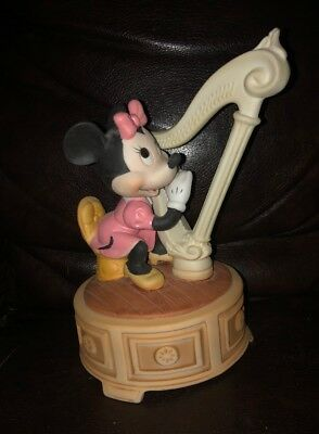 "Vintage Minnie Mouse Playing Harp Music Box ""When You Wish Upon A Star"""