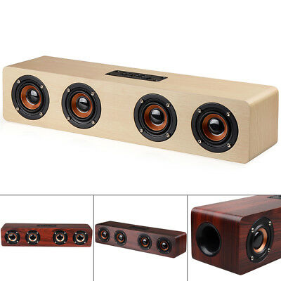 W8 4 Horns 12W Wooden Wireless Bluetooth Speaker with TF Card Playback for PC