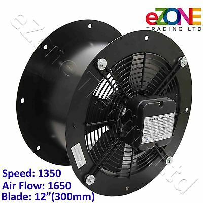 Industrial Duct Fan Cased Axial Commercial Kitchen Canopy Extractor 300mm