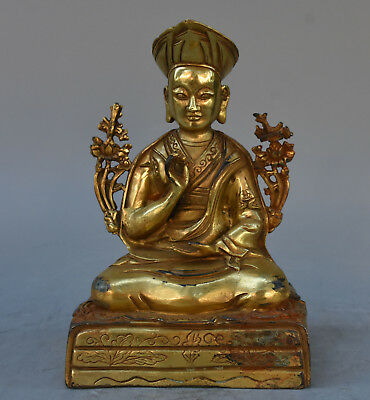 "8"" Collect Tibetan Bronze Gilt Gold Buddhism Temple Je Tsongkhapa Buddha Statue"