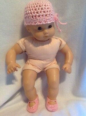 """Bitty Baby 15"""" doll pink crocheted hat and booties shoes for girl outfit clothes"""