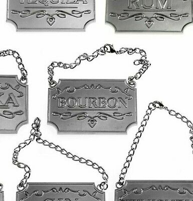 BOURBON~1 Gorgeous Liquor Decanter Tag Label STUNNING SILVER w Adjustable Chain