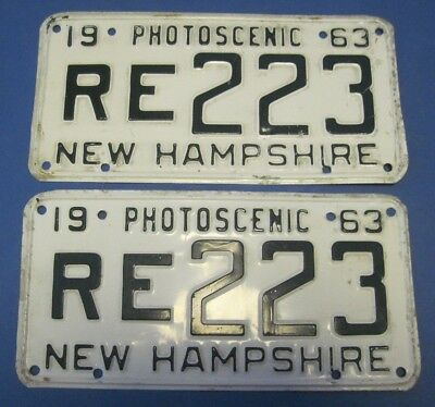 1963 New Hampshire License Plates matched pair
