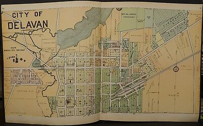 Wisconsin Walworth County Map City of Delavan 1907 2-Double Pages J23#12