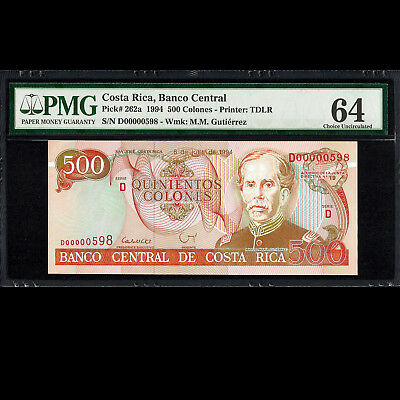 Costa Rica 500 Colones 1994 Low Serial Number PMG 64 Choice UNCIRCULATED P-262a