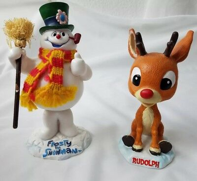 Frosty The Snowman & Rudolph The Red Nosed Reindeer Bobbleheads In Boxes EUC