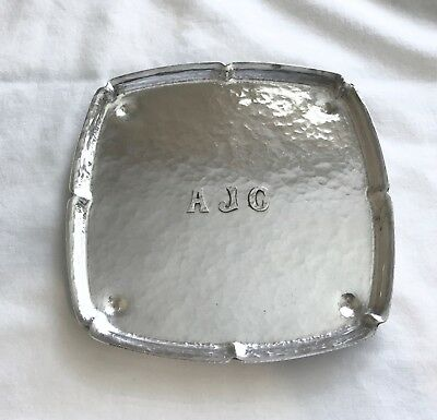 """Antique Whiting Mfg Hand Hammered Sterling Silver 6"""" Square Tray 1912"""