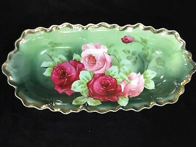 "Z S & Co Bavaria OVAL SCALOPPED 12.25"" RELISH BOWL with Large PINK ROSES -Signed"