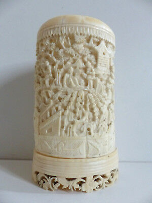 SUPERB ANTIQUE CHINESE CANTONESE CARVED BRUSH POT BITONG 19th Century ( n2 )