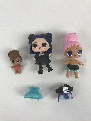 Lot of 3 LOL Surprise Dolls + 1 Clothes, Dusk, Touchdown, Lil' Rip Tide Series 3