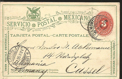 J) 1895 Mexico, Numeral, 3 Cents Orange, Eagle, Circulated Cover, From Mexico To