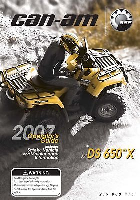 New Can-Am 2007 DS 650 X, Owners Operators Manual Paperback Free Shipping